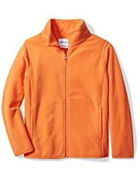 Amazon Essentials Little Boys' Full-Zip Polar Fleece Jacket, Orange Pop, X-Small