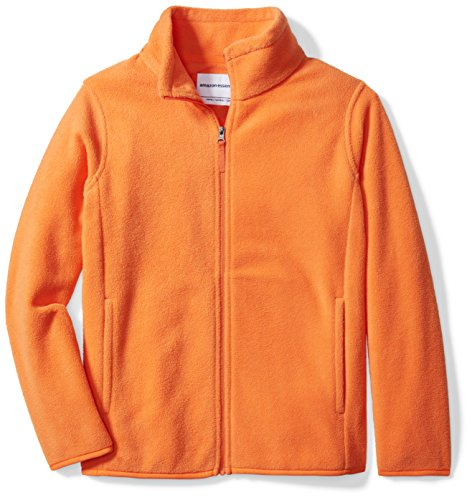 Amazon Essentials Big Boys' Full-Zip Polar Fleece Jacket, Orange Pop, Large -