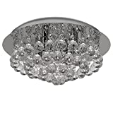 Discount4product Modern Round Fixture Ceiling Light Lighting Crystal Pendant Chandelier 35 cm Wide, 3 Warm White Changeable Bulb