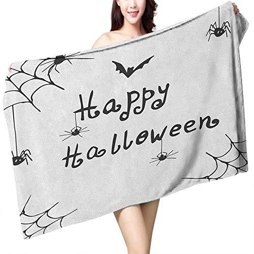 homecoco Custom Bath Towel Spider Web Happy Halloween Celebration Monochrome Hand Drawn Style Creepy Doodle Artwork W31 xL63 Suitable for bathrooms, Beaches, Parties ()
