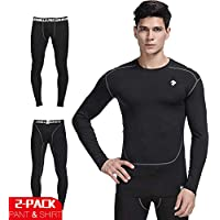 Men 2 Pack Outfit Sets(Shirt,legging)Quick Dry...