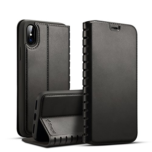 iPhone X Folio Flip Case Magnetic Closure Spaysi iPhone X Leather Case Slim iPhone X Wallet Case Wireless Charging Book Style Kickstand Credit Card Slot Holder TPU Full Protection Case (Black)
