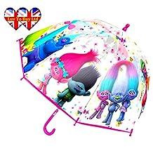Children,Kids,Umbrella,Official Trolls(Pattern All Characters)&Transparent Umbrella