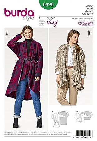 Burda Damen Plus Größe Schnittmuster 6490 fließenden Fall Jacken ...