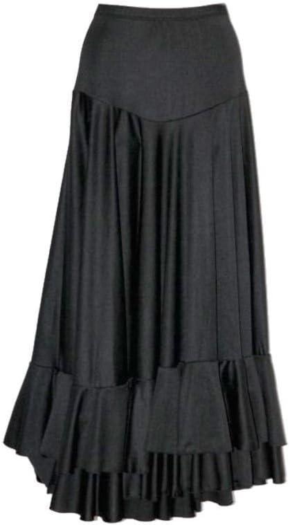 Falda negra con volantes para flamenco: Amazon.es: Deportes y aire ...