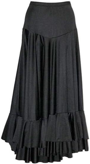 selecte-plus - Falda para mujer de Flamenco Dance negro con 2 volantes