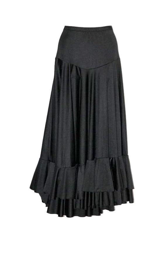 Falda de flamenco con volante en el bajo en color negro: Amazon.es ...