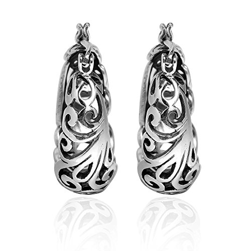 (Graceful Open Swirls .925 Sterling Silver Round Hoop Earrings)