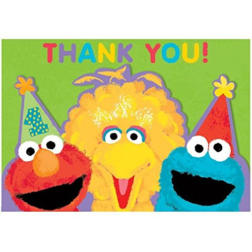amscan Sesame Street 1st Birthday Thank You Cards Party Supplies, Green -