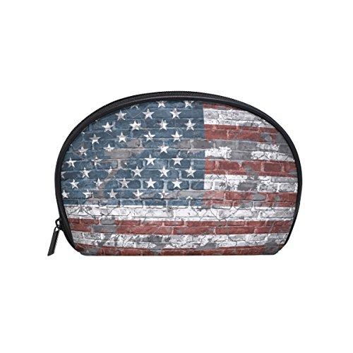 ALAZA Retro American Flag Half Moon Cosmetic Makeup Toiletry