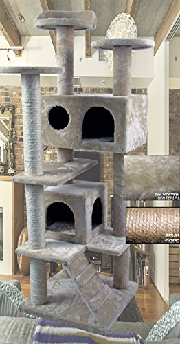 "50"" New Style Cat Tree Tower Condo Furniture Scratch Post Kitty Pet House Play Furniture Sisal Pole and Stairs (Beige) by HIDING"