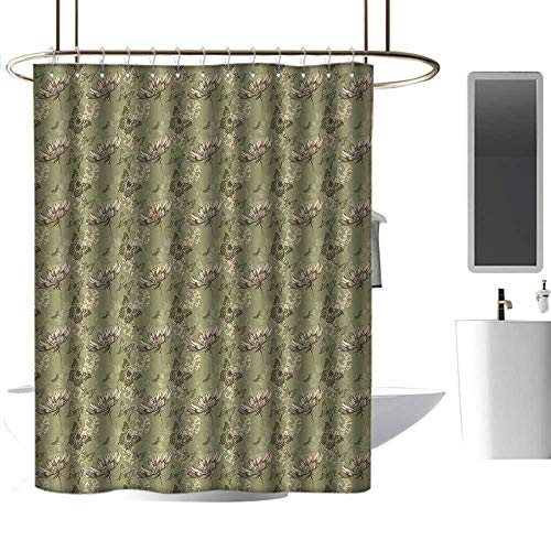 Bathroom Shower Curtains Sets Complete mats Butterfly,Hand Drawn Flying Butterflies Abstract Floral Arrangement Vintage Color Palette,Khaki Beige,W55 x L84,Shower Curtain for Kids ()