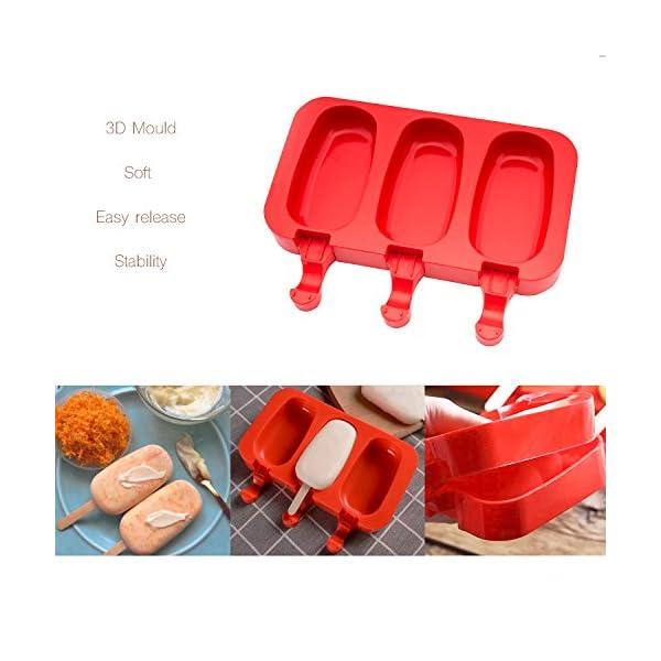 Popsicle Molds Stampo Per Gelato Popsicle Maker Popsicle Stampi Ghiacciolo Rosso Ellittico Con Popsicle Stick beicemania 2 spesavip