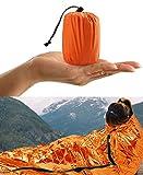 HONYAO Sleeping Bag, Emergency Bivvy Bag Rescue Survival Emergency Blanket Reusable for Outdoor Camping Hiking - 1pack