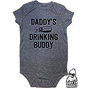 Daft Baby ~ Daddy's Drinking Buddy Funny Baby Onesie Graphite (12-Months)