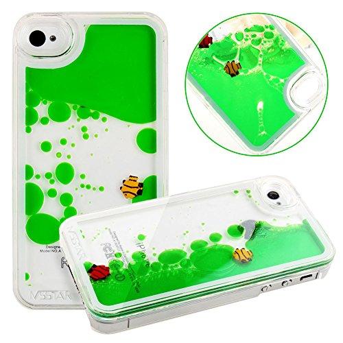 iPhone SE Case,iPhone 5S Case,iPhone SE Liquid Case,Hard Case for iPhone 5S/iPhone SE,ikasus Creative Design Flowing Liquid Swimming Fish Hard Case for Apple iPhone SE 2016 & iPhone 5S 5 (Green)