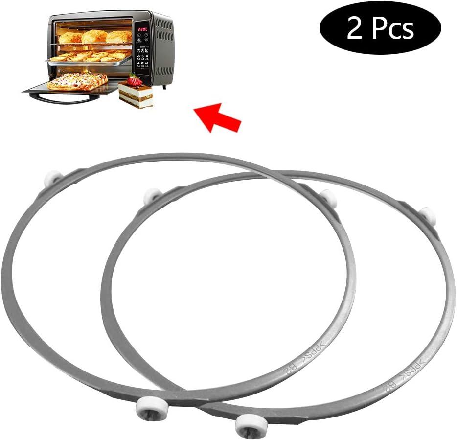 Soporte universal para horno de microondas, soporte circular de cristal, soporte de placa base, anillo giratorio, 18 cm (2 unidades)