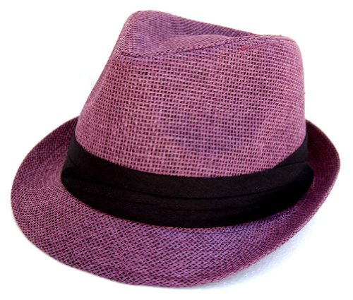 The Hatter Co. Tweed Classic Cuban Style Fedora Fashion Cap Hat - (5 Colors Available) (Purple) (Fedora Hats For Women Purple)