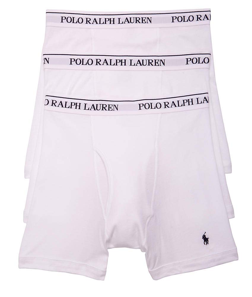 Polo Ralph Lauren Classic Fit Boxer Briefs with Moisture Wicking, 100% Cotton - 3 Pack (L, 3White)