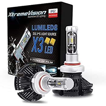 XtremeVision X3 50W 12,000LM LED Bulb - 9006 LED Headlight Kit - 3000K 6500K 8000K ZES LED - 2019 Model