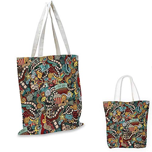 Doodle non woven shopping bag Cinema Items Combined in an Abstract Style Popcorn Movie Reel The End Theatre Masks fruit shopping bag Multicolor. 16