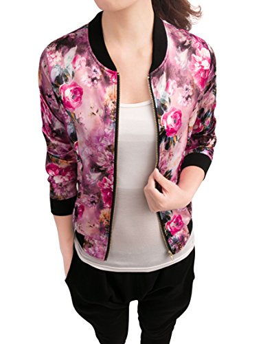 (Allegra K Women's Long Sleeve Zip up Floral Print Casual Bomber Jacket Fuchsia S)