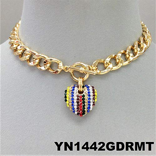- Multi Color Rhinestones Heart Pendant Gold Finish Cuban Link Toggle Necklace Set For Women