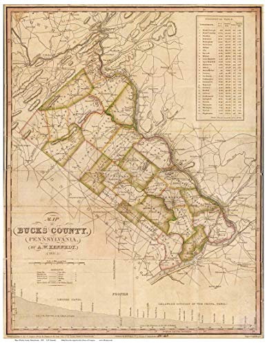Bucks County PA 1831 Old Map - Genealogy Reprint