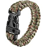 dipshop Multi-color Paracord Cord Outdoor Quick Release Survival Bracelet With Whistle ( Grey )