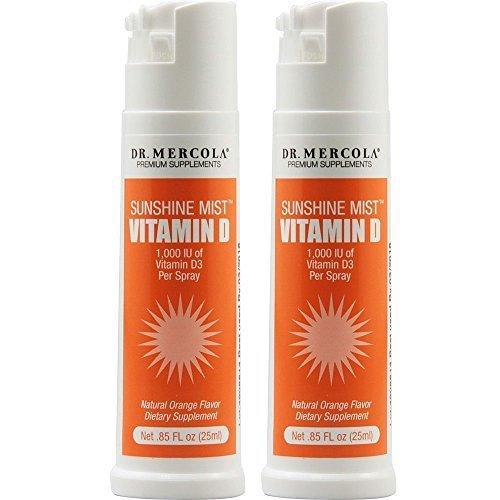 Dr. Mercola Sunshine Mist Vitamin D Spray - .85 Ounces (2) - 1,000 IU Of Vitamin D3 Per Spray - Natural Orange Flavor by Dr. Mercola
