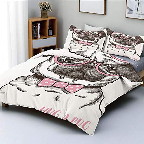 Duplex Print Duvet Cover Set King Size,Cute Pug with Pink Bow Tie Oversized Glasses Hand Drawn Domesticated DecorativeDecorative 3 Piece Bedding Set with 2 Pillow Sham,Baby Pink White Dark Brown,Best