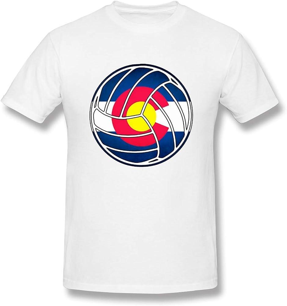 Camiseta Blanca Transpirable con diseño de Voleibol de la Bandera de Colorado para Hombre,S: Amazon.es: Ropa y accesorios