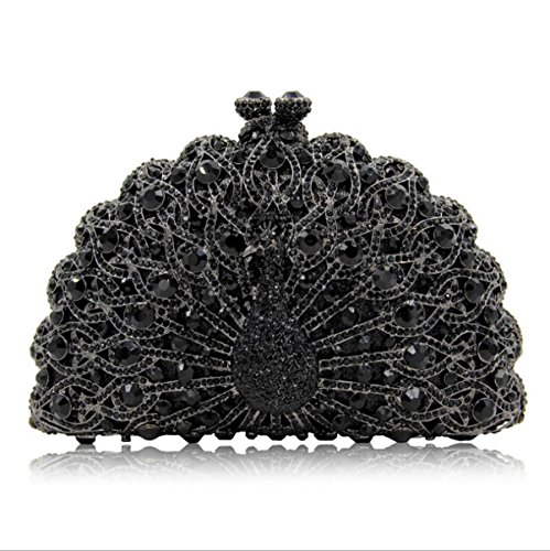 Crystal Clutches Handbag Banquet Women Bag Evening Black Giltter Clutch Peacock Purse Evening Diamonds EFw5qwU