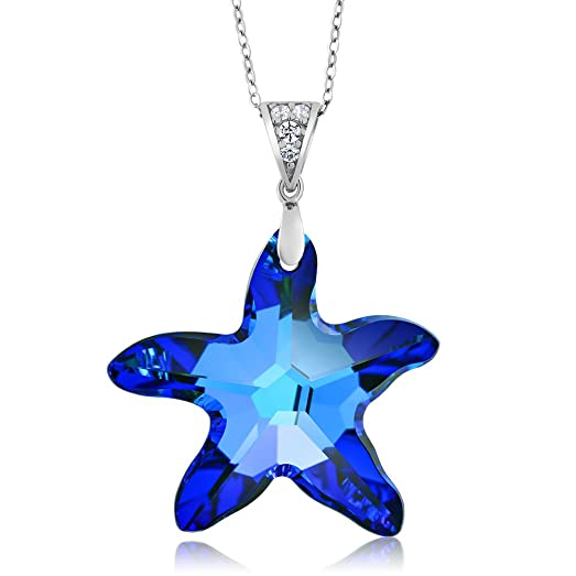 Amazon sterling silver berumda blue starfish pendant created sterling silver berumda blue starfish pendant created with swarovski crystals aloadofball Image collections
