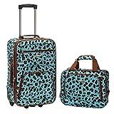 Rockland 2 Piece Luggage Set, Blue Leopard, One Size
