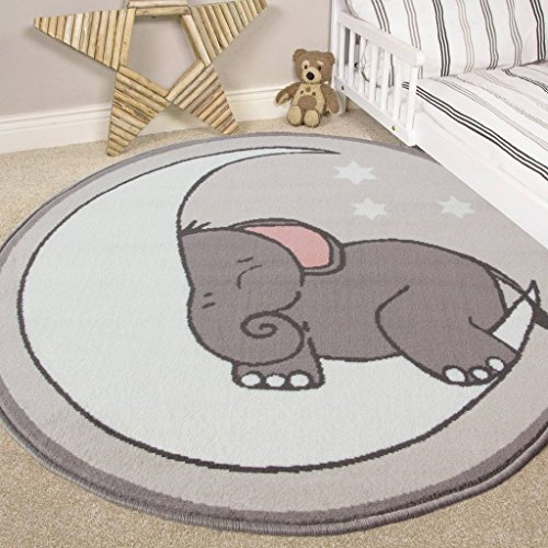Nursery Style Elephant, Moon and Stars Kids Baby Room Childrens Floor Area Rug Mat from The Rug House