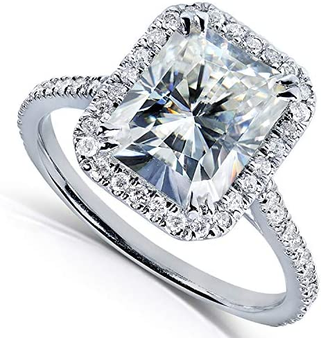 Kobelli Forever One (D-F) Radiant-cut Moissanite Engagement Ring 3 Carat (ctw) in 14k White Gold