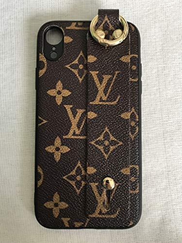 Phone Case for iPhone XR Case,Elegant Luxury Designer Brown Monogram PU Leather Classic Pattern Shockproof Case with Finger Strap Holder Durable Case for iPhoneXR