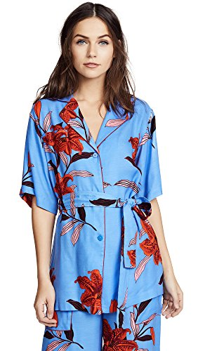 Diane von Furstenberg Women's Short Sleeve Cinched Waist Top, Argos Hydrangea/Garnet, Medium
