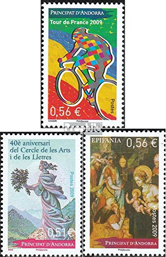 (Andorra - French Post 698,699,701 (Complete.Issue.) 2009 Tour de France, Art, Christmas (Stamps for Collectors) Cycles)