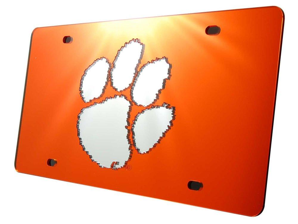 Stockdale Clemson Tigers License Plate Orange W//Mirrored Acrylic Paw