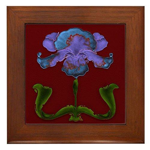 CafePress - Framed Tile with Art Nouveau Bearded Iris - Framed Tile, Decorative Tile Wall Hanging