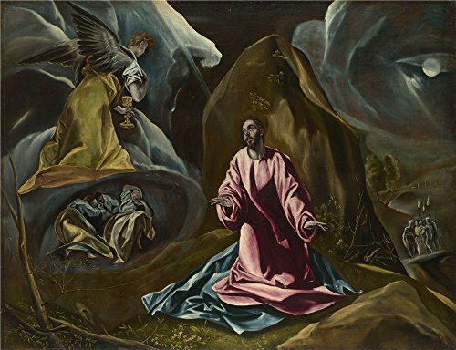 'Studio Of El Greco The Agony In The Garden Of Gethsemane ' Oil Painting, 16 X 21 Inch / 41 X 53 Cm ,printed On High Quality Polyster Canvas ,this Best Price Art Decorative Prints On Canvas Is Perfectly Suitalbe For Living Room Decor And Home Artwork And Gifts (Log American Garden Swing)