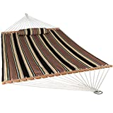 Sunnydaze Quilted Fabric Hammock Two Person with Spreader Bars, Indoor/Outdoor, Heavy Duty 450 Pound Capacity, Sandy Beach