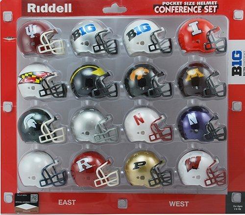 Riddell Pocket Pro Helmet Big Ten 10 Revolution Conference Set (12 Helmets) - Set includes: Illinois, Indiana, Iowa, Michigan, Michigan State, Minnesota, Nebraska, Northwestern, Ohio State, Penn State, Purdue, Wisconsin