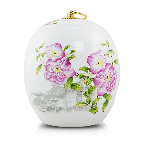 Ceramic Cremation Urn - Peonies - White Ceramic 135 Pounds Large (Urn Asian Floral)