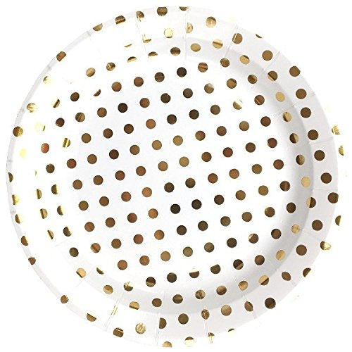 Just Artifacts Round Paper Party Plates 9in (12pcs) - Metallic Gold Polka Dot - Decorative Tableware for Birthday Parties, Baby Showers, Grad Parties, Weddings, and Life Celebrations!