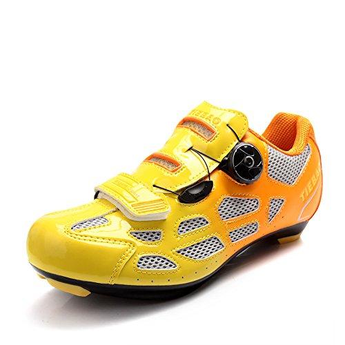 Weideng Professionnel Cyclisme Chaussures Respirant Hommes Femmes Vélo De Course Bouton De Course Chaussure De Fixation Orange