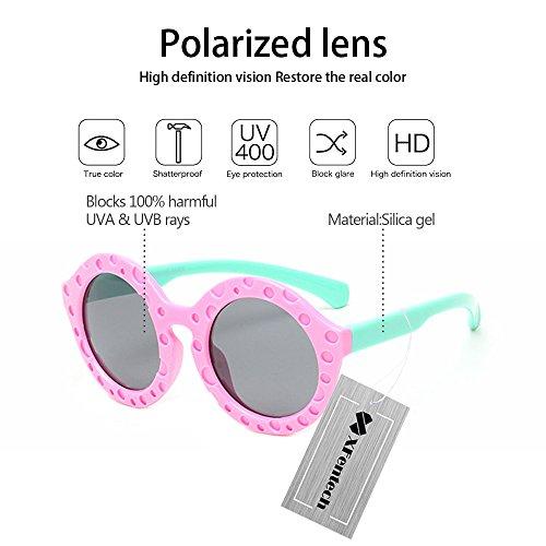 60436280fa XFentech Gafas de sol Redondas Polarizadas Flexibles de la Lente de TAC  para Niños Outlet