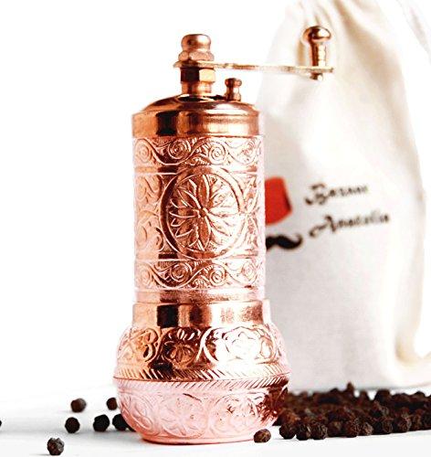 Bazaar Anatolia Turkish Grinder, Spot Mill, Spice Grinder, Salt Grinder 4.2'' (Copper)